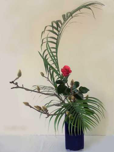 辛夷・アレカヤシ・薔薇